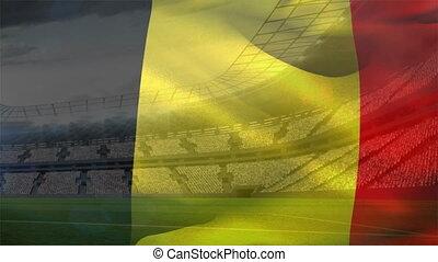 stade, roumaine, devant, drapeau