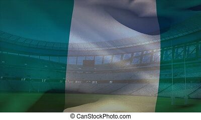 stade, souffler, devant, drapeau