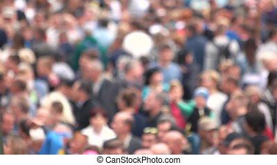 stadium., brouillé, gens, foule