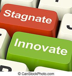 stagnation, clés, stagner, avancement, innover, choix, informatique, croissance, ou, spectacles
