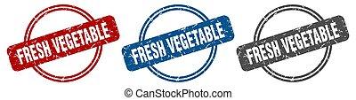 stamp., légume, étiquette, ensemble, frais, signe.