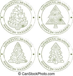 stamps-vintage-with-christmas-trees