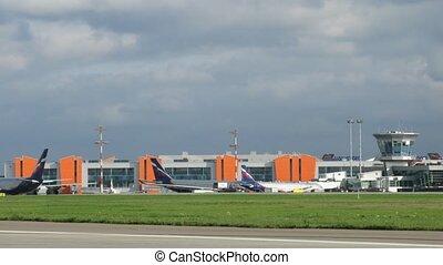 stands, avions, stationnement, aeroflot, avion, sheremetyevo, aéroport