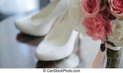 stands, bois, accessoires, verni, joli, mariage, table.
