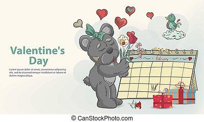 stands, carte, bouquet, jour, calendrier, conception, teddy, girl, fleurs, jouet, style, griffonnage, suivant, ours, valentines, salutation, childrens, tient, illustration