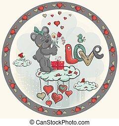 stands, décoration, nuage, bouquet, jour, conception, teddy, girl, fleurs, jouet, style, griffonnage, autocollant, ours, valentines, childrens, tient, illustration, rond