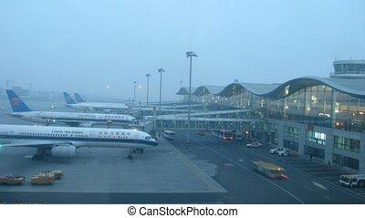 stands, divopu, méridional, avion, terminal, aéroport, porcelaine, avions, stationnement