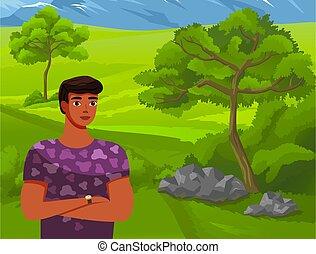stands, homme, fond, montagnes., vert, concept, forêt, illustration, élevé, jeune, voyage