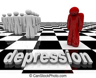 stands, -, personne, seul, dépression