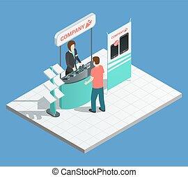 stands, promotion, isométrique, composition, exposition