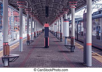 stands, train, arrival., après, plate-forme