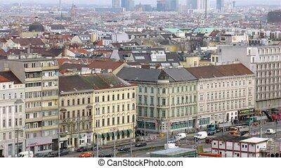 stands, viennois, contre, toits, danube, tour, au-dessus, paysage, ville, maisons