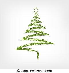 star., arbre, illustration, main, vecteur, dessiné, noël