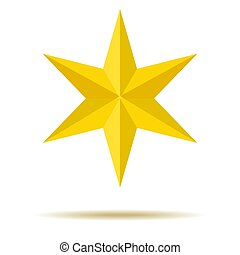 star., yellow., six-pointed., ornaments., ton, design.