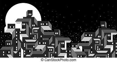 stars., moonlight., simple, nuit, moderne, bâtiments., lumières, cityscape, windows., formes, ville, vie nocturne, lune, géométrique, town., urbain