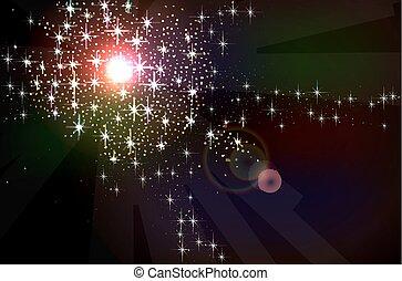 stars., nébuleuse, fond, espace