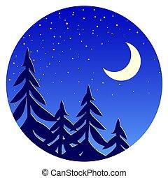 stars., nuit, forêt, paysage, lune