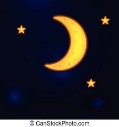 stars., vecteur, ciel, nuit, lune