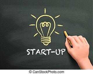 start-up, mot, écrit, main