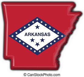state), arkansas, (usa, drapeau, carte, bouton, forme