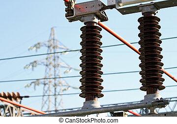 station, électrique, insulators, puissance, a haute tension