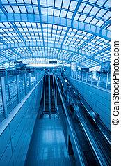 station, aéroport, exprès, escalator, capital