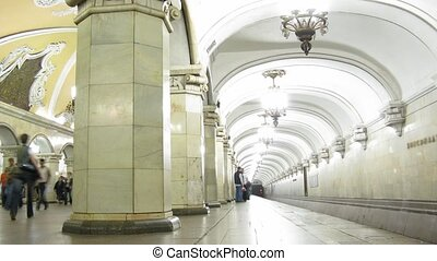 station., blured, métro, faces.