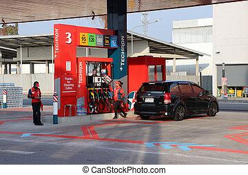 station, caltex, seulement, noir, essence, refueling, personnel, éditorial, haut, fueling, voiture., usage