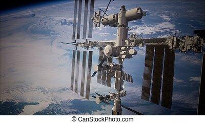 station, espace, international, la terre, planète, extérieur, sur