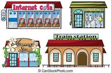 station, magasins, train, divers
