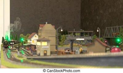 station., miniature, ferroviaire