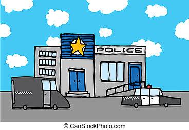 station, police, dessin animé