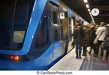 station, stockholm, train, métro