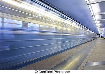 station, train, en mouvement, métro