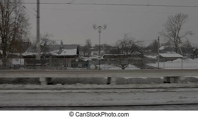 station, train ferroviaire, en mouvement, vue