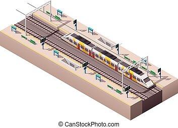 station, vecteur, isométrique, train