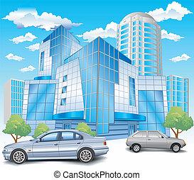 stationnement, bâtiment