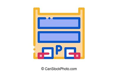 stationnement, emplacement, icône, animation