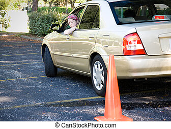 stationnement, -, essai, adolescent, conduite