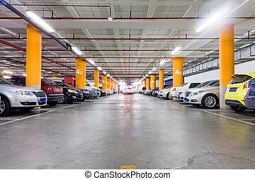 stationnement, souterrain, peu, garage, intérieur, garé, voitures