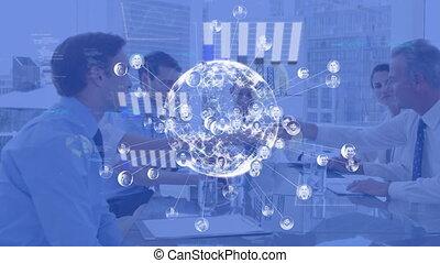 statistiques, business, sur, gens, connexions, ensemble, globe, animation, réseau, fonctionnement