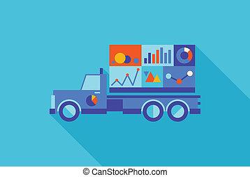 statistiques, camion, publicité