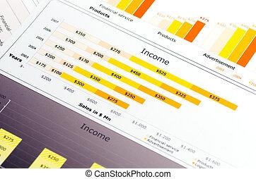 statistiques, coloré, diagrammes, ventes, graphiques, rapport