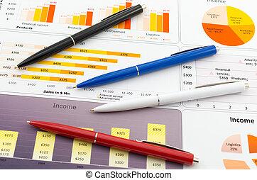statistiques, couleur, ventes, pencil's, graphiques, rapport, plusieurs