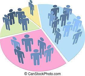 statistiques, gens, graphique circulaire, données, population
