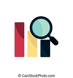 statistiques, intellectuel, icône, loupe, propriété, droit d'auteur