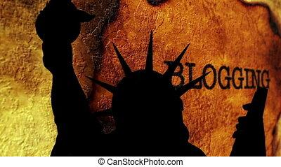 statue, blogging, liberté, fond, contre