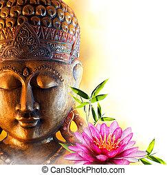 statue, bouddha, eau, zen, lis