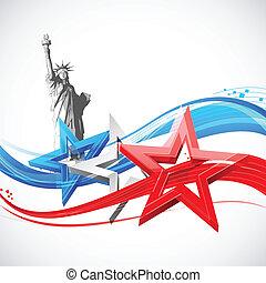 statue, drapeau, américain, liberté