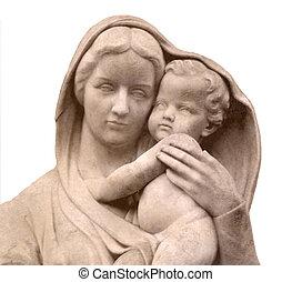 statue, jésus, marie, garçon, vierge